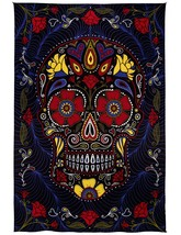 Sunshine Joy 3D Sugar Skull Tapestry Day Of The Dead Wall Art Beach Shee... - $31.95