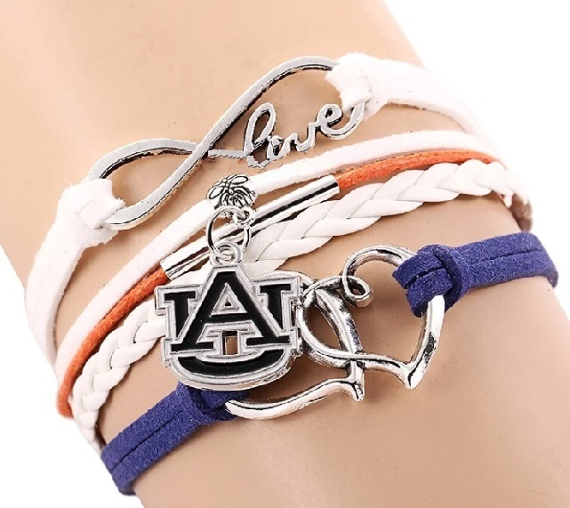 Auburn University Tigers Fan Shop Infinity Hearts Bracelet Jewelry
