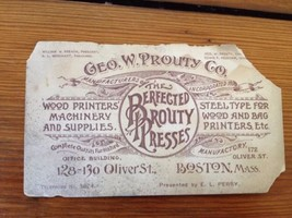 Antique Victorian Business Trade Card Boston MA Prouty Printers Oliver S... - $50.99