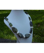 Green turquoise  +silver necklace  Hand crafted... - $28.99