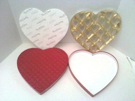 Empty Russell Stover Valentine's Day Heart Shaped Box Quilted Red Gold  - $12.95
