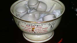 Hall China Company Old Crow Advertisement 14 pc Punch Set 1961 Kentucky ... - $99.99