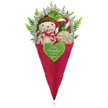 Christmas Wishes 2015 Hallmark Ornament - Snowman Cone - Candy Cane - Co... - $14.79