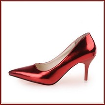 Mirror Red Metallic Stiletto Red Bottom Classic High Heel Pumps  image 1