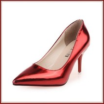 Mirror Red Metallic Stiletto Red Bottom Classic High Heel Pumps  image 2