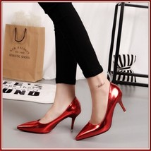 Mirror Red Metallic Stiletto Red Bottom Classic High Heel Pumps  image 3