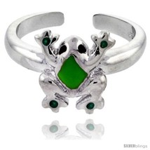 Sterling Silver Child Size Frog Ring, w/ Green Enamel Design, 3/8in  (10 mm)  - $25.81