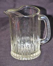 Old Vintage Heavy Clear Press Glass Stubby Pitcher w Ice Guard Starburst... - $29.69