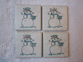 """Vintage Set Of 4 Snowmen Tile Ceramic Coasters """" AWESOME COLLECTABLE SET """" - $23.36"""