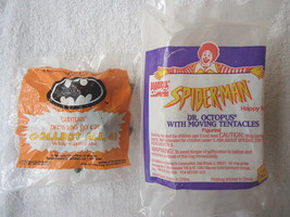 "Set Of 2 Vintage Happy Meal Toys "" NIP "",1,1991 Batman Press And Go Car,1,Spider - $10.39"