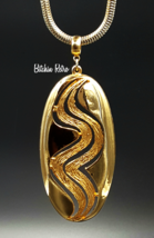 Lisner Gold Tone Mod Pendant Necklace On Snake Chain, Vintage - $38.00