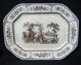 Spectacular Romantic Brown Transferware Staffordshire Platter BOWER 1840 - $292.05