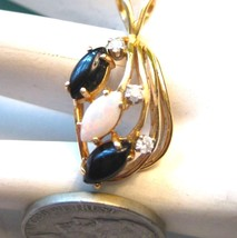 Vintage 14k Yellow Gold Pendant with Opal Onyx Marquis Cut Diamond Accen... - $292.05