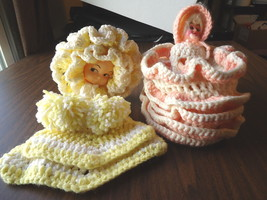 Vintage Lot Of 2 Crocheted Doll Items,1,For Baby Face,1,For Plastic Doll... - $23.36