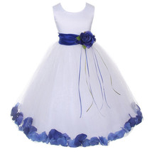 White Satin Bodice Layers Tulle Skirt Royal Blue Flower Ribbon Brooch and Petals - $48.00