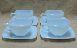 Anchor Hocking Charm Azur Ite Cup and Saucer Set ~ 4 - $22.00