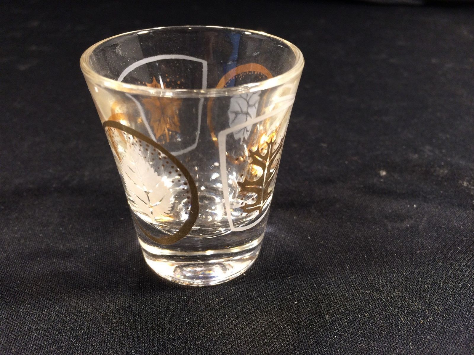 Vintage Leaves Gold White Shot Glass Collectible 2-1/4""