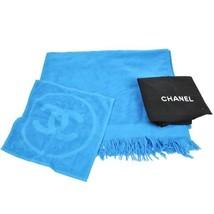 CHANEL Beach Bath x Hand Towel Blue Floor Mat Cotton 100% Interior Auth ... - $650.35
