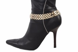 Women Boot Bracelet Gold Mesh Metal Chains Wide Links Anklet Fashion Shoe Charm - $19.58