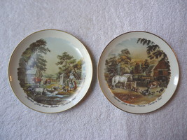 """Vintage Set Of 2 Pickard Hand Decorated """" CURRIER & IVES """" Themed Collec... - $28.04"""