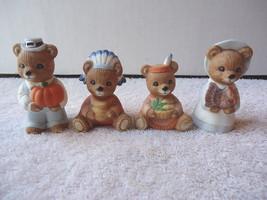 "Vintage Homco # 5312 Set Of 4 "" Thanksgiving Bears "" Beautiful Collectible Set "" - $14.01"
