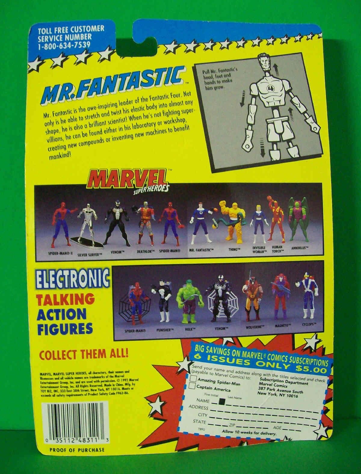 Mr. Fantastic Marvel Superheroes Fantastic Four - 1992