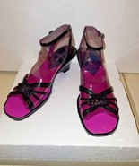 GRETTA WOMENS SIZE 6.5 BLACK PATENT LEATHER STRAPY BUCKLE WEDGE SANDAL S... - $29.69