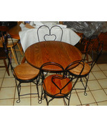 Oak & Iron Ice Cream Parlor Table & Chairs - $649.00