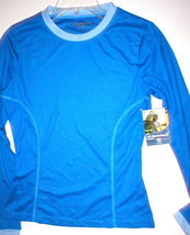 NWT NordicTrack Womens Whicking Top blue LS small - $14.99
