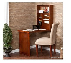 Fold Out Desk Convertible Wall Mount Student Home College Walnut Without... - $142.76