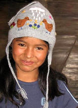 hat for kids,embroidered chullo made of alpaca fur - $22.00