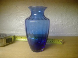 "6.25"" Tall Ribbed Paneled Cobalt Blue Glass Vase Decanter, Clean - $17.85"