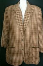 Vintage Anne Klein II Jacket Blazer Houndstooth L Large Wool Blend Lined... - $29.69
