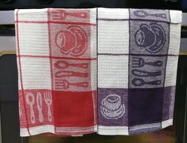 TEA TOWELS Set of 2 Red Purple Check Coffee Cup Utensils Cotton Kitchen NEW