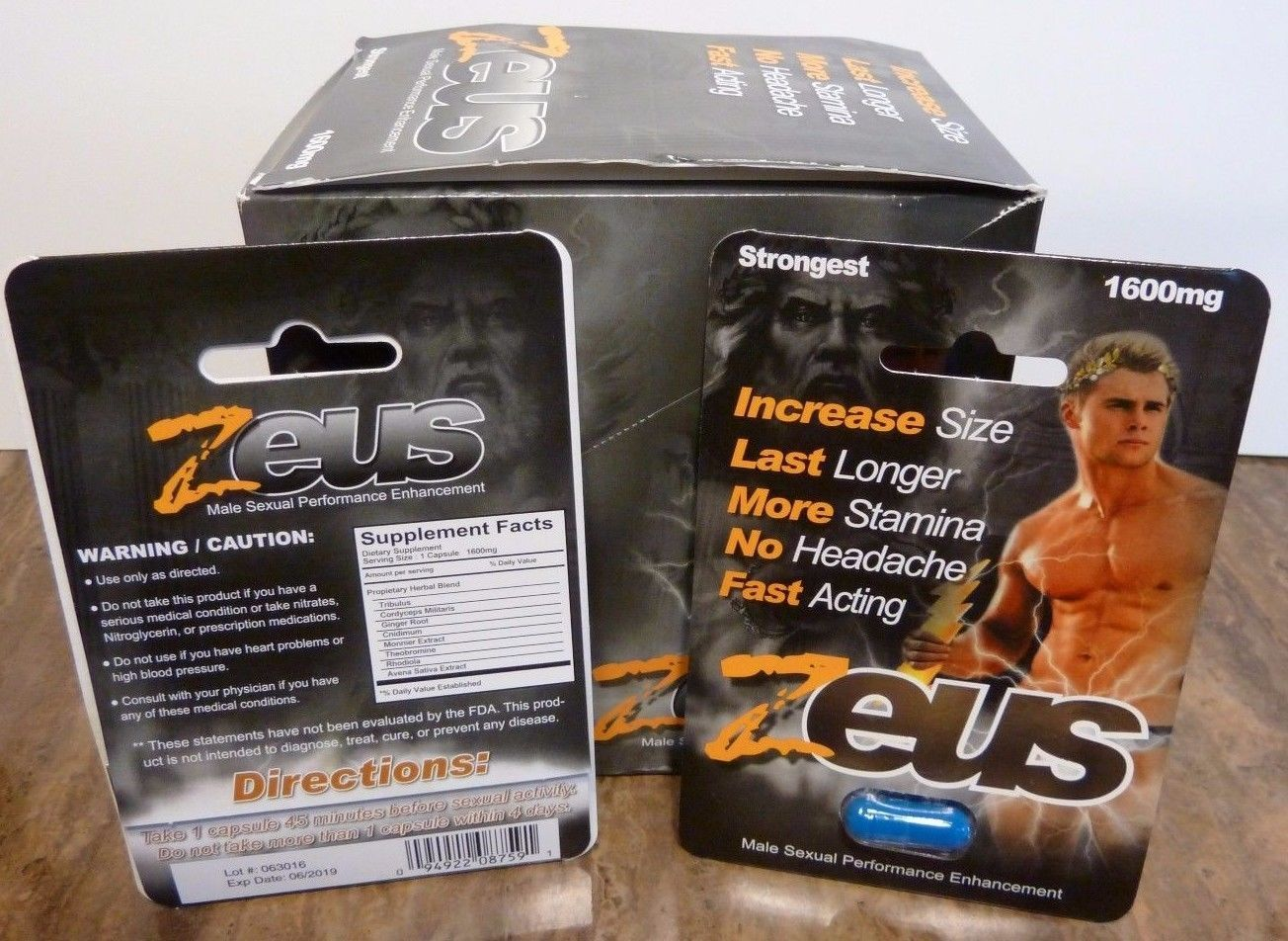 zeus 1600 mg male sexual enhancement 1 box of 25 capsules