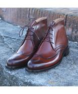 Handmade Elegant Luxury Leather Boots, Burgundy brogue Boot, Dress Leath... - $179.97+