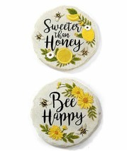 "Set of 2 - 9.25"" Round Bee Themed Stepping Stone / Wall Plaques Polystone"