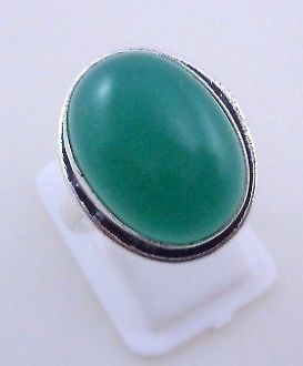 Primary image for 6 Gr Green Onyx Stone Silver Overlay Handmade Jewelry Ring Size 8.5