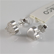 925 RHODIUM SILVER JACK&CO EARRINGS WITH HEART WITH CUBIC ZIRCONIA MADE IN ITALY image 4