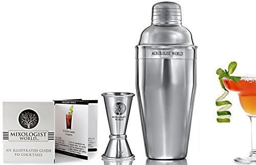 Cocktail Shaker Set Double Stainless Steel Jigger Drink Recipes Bartender Kit