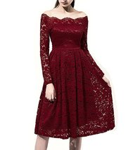 Burgundy Lace Prom Dress Knee Length with Long Sleeves,Formal Dress,Party Dress - $139.00