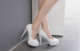pp230 Elegant rhinestones high-heeled pumps, US Size 4-8, white - $52.80