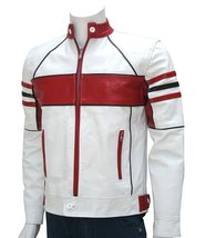 Customized Men's Handmade White & Red Tone Racer Genuine Leather Jacket  - $159.00+