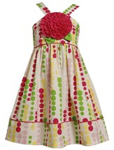 Little Girl 2T-6X White Multicolor Bubble Dot Rosette Applique Woven Dress, Bonn