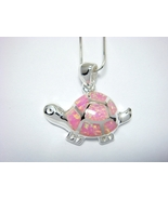 925 Sterling Silver Pink Opal Turtle Charm Pendant - $17.00