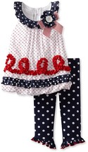Little Girl 2T-6X Red-White-Blue Dot Print Patriotic Dress/Legging Set, Bonnie J
