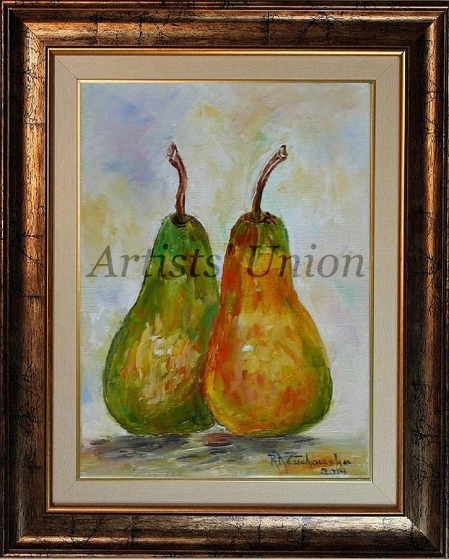 Two Pears Impression Impasto Original Oil Painting Artist Fruit Food Kitchen Art