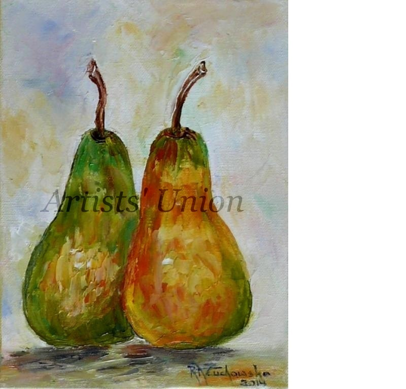 Two Pears Impression Impasto Original Oil Painting Artist Fruit Food Kitchen Art