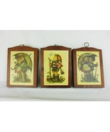 Vtg Hummel 3 pictures Manchester wood handcrafted wall plaque nursery decor - $18.76