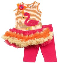 Baby Girl 3M-24M Orange Pink Striped Flamingo Tutu Dress/Legging Set